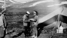 Геолог Сергей Петрович, студент Луньков, геолог Афанасьева. 1976 г.