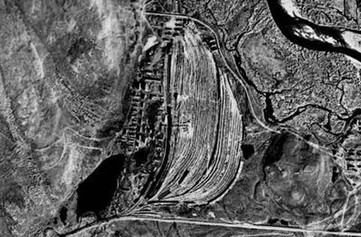Аэроснимок Полярного (поселок «106-й» и карьер) 1959
