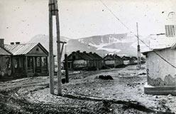 Вид центральной улицы Полярного, позже ул. Уральская. 1961