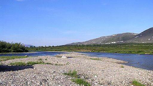 Река Б.Пайпудына в средней точке маршрута (17-й км)
