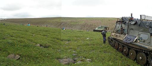 Постановка лагеря перед подъемом на вершину Пайер. 06.08.2015