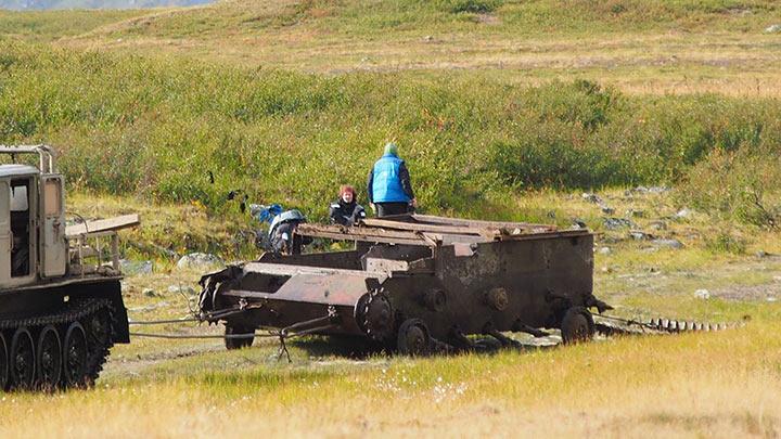 Третий САУ-76 пролежал 40 лет на Сядате. Август 2017.