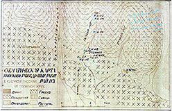 Карта поисково-разведочных работ (из отчета Бетехтина)