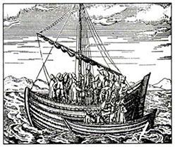 Русская ладья. 1598 г. (из морского дневника Г. де Фера)
