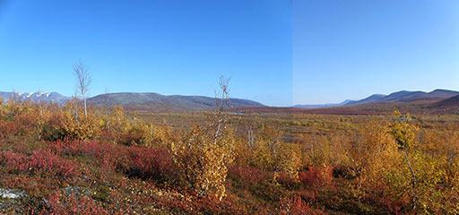 Панорама с позициями операции РВСН 1961 года восточнее Воркуты