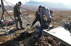 Укрепление якоря головного блока бугельного подъемника базы «Перевал»