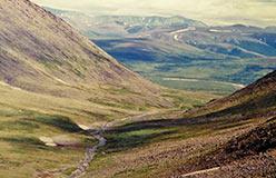 Вид с Подснежного в долину Пайпудыны - 14-й километр. 1997